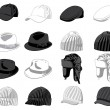 Set of the hats — Stock Vector