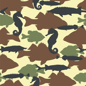 Fish camouflage seamless pattern — Stock Vector