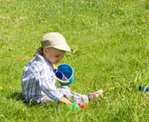 2 years old boy playing in park — Stock Photo