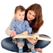 Mother with son read the book — Stock Photo