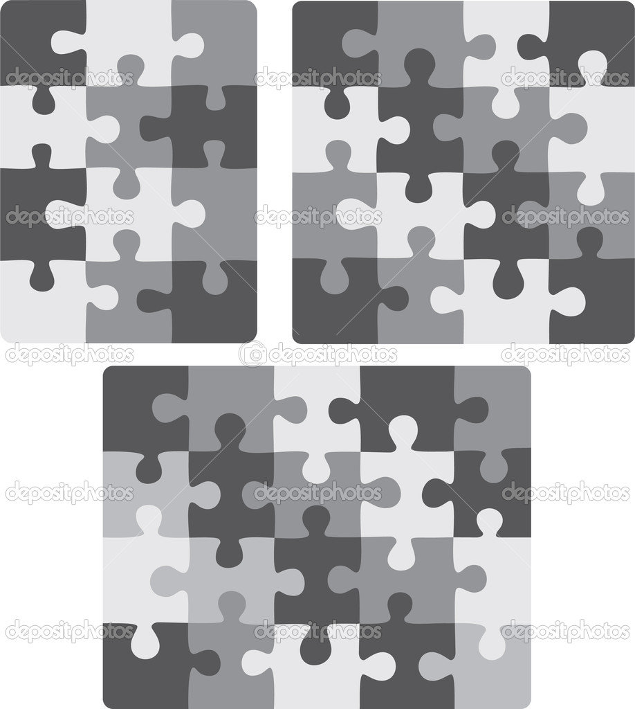 3X4, 4X4 and 5X4 puzzle patterns (removable pieces). Vector illustration   Stock Vector #5106724