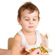 Kid does not want to eat salad — Stock Photo #5169303