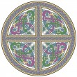 Detailed celtic cross design element with birds - Stok Vektr