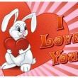 Saint Valentine&#039;s Day Rabbit with heart card - Stock Vector