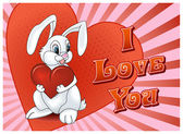 Saint Valentine's Day Rabbit with heart card — Stock vektor