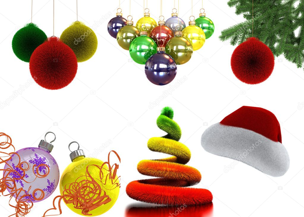 New Year's set isolated on white background  Stockfoto #4430992
