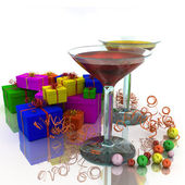 Wineglass and gifts — Foto de Stock