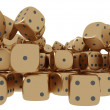 Golden playing dices — Foto Stock