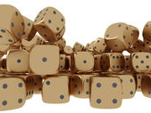Golden playing dices — Foto de Stock