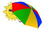 Kreslený slunce s deštníkem — Stock fotografie