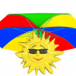 Cartoon sun with umbrella — Stock Photo
