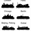 Popular world cities - Stock Vector