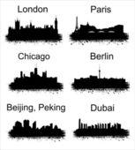 Populaire wereldsteden — Stockvector