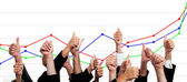 Business with Thumbs Up Against Financial Growth Chart — Stockfoto