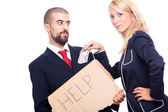 Businessman Ask For Help and Receive Money from Businesswoman — Stock Photo