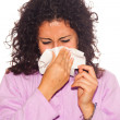 Young Sick WomBlow Her Nose — Stock Photo #4005105