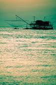 Fisherman's Net Silhouette at Sunset — Stock Photo
