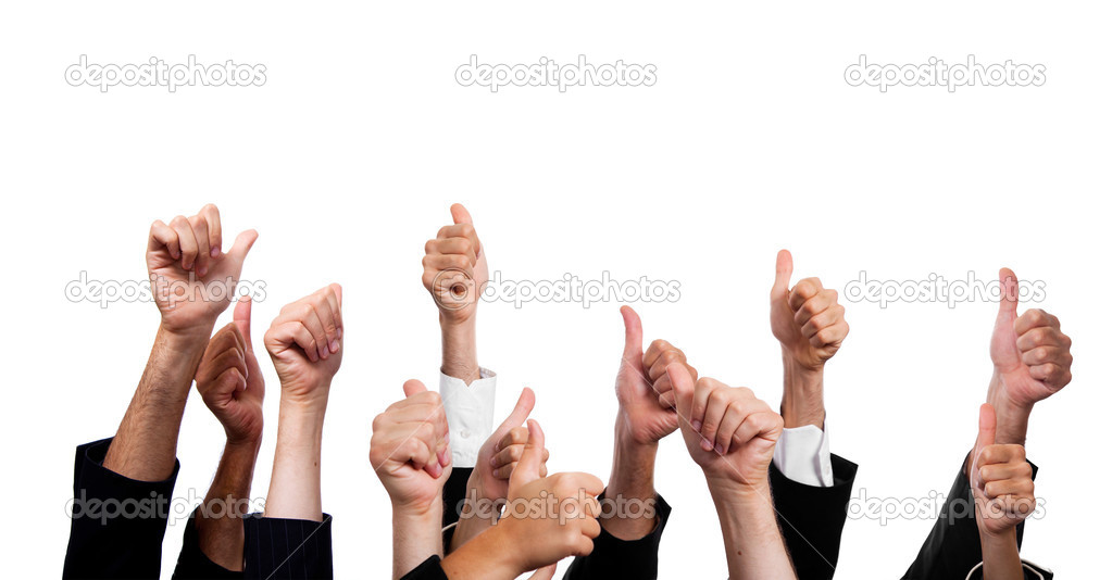 Business with Thumbs Up on White Background  Stock Photo #4084232