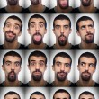 Youg Man Collection of Expressions on White Background - Stock Photo