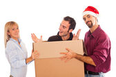 Delivery Boy with Christmas Hat, Present for Woman — Stock Photo