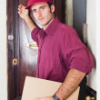 Delivery Boy Knock at the Door — Stock Photo
