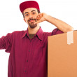 Delivery Boy with Boxes — Stock Photo
