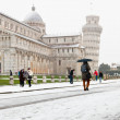 Leaning Tower under the Snow — Stock Photo
