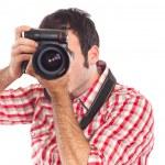 Young Man Photographer Taking Photos — Stock Photo