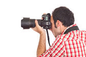 Young Man Photographer Taking Photos — Stockfoto