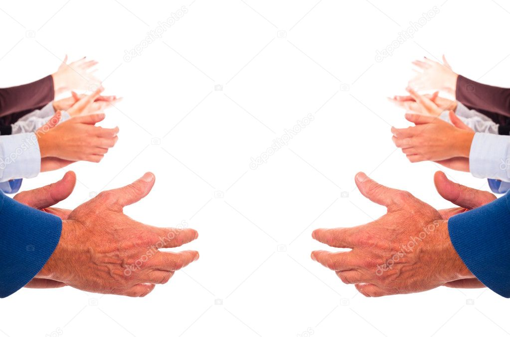 Hands Clapping on White Background — Stock Photo #4601477