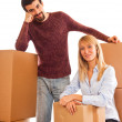Young Happy Couple on Moving — Stock Photo
