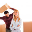 Young Couple on Moving, Husband angry with Wife — Stock Photo #4643758
