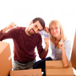 Happy Young Couple after Relocation — Stock Photo