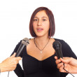 Young Woman Talking on the Microphone during Interview — Stock Photo