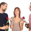 Young Woman with Two Boyfriends — Stockfoto