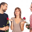 Foto Stock: Young Womwith Two Boyfriends