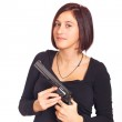 Young Woman Blowing on His Gun After Shooting — Stock Photo