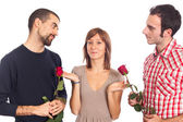 Young Woman with Two Boyfriends — Stock Photo