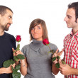 Young Woman with Two Boyfriends — Photo