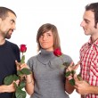 Young Womwith Two Boyfriends — Stock Photo #4674149