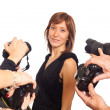 Stock Photo: Celebrity Womin front of Paparazzi