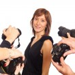 Celebrity Womin front of Paparazzi — Stock Photo #4674167