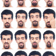 Youg Man Collection of Expressions on White Background — ストック写真