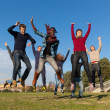 Group of Happy College Students Jumping at Park — Stock Photo #4864065