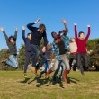 Group of Happy College Students Jumping at Park — Stock Photo #4933595