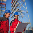 Two Engineers in a Construction Site — Stockfoto