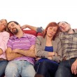 Four Boys and Girls Sleeping on Sofa — Stock Photo #5075439