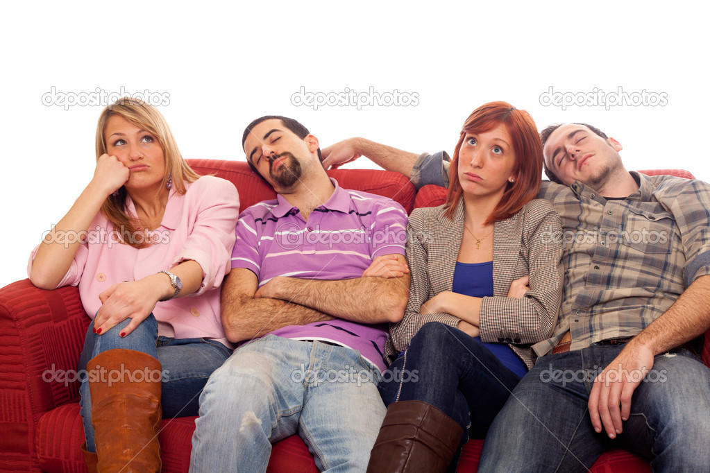 Bored Girls while Man Sleeping on Sofa — Stock Photo #5078113