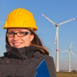Female Engineer in Wind Turbine Power Generator Station — Stock Photo #5099361