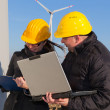 Two Engineers in Wind Turbine Power Generator Station — Stock fotografie